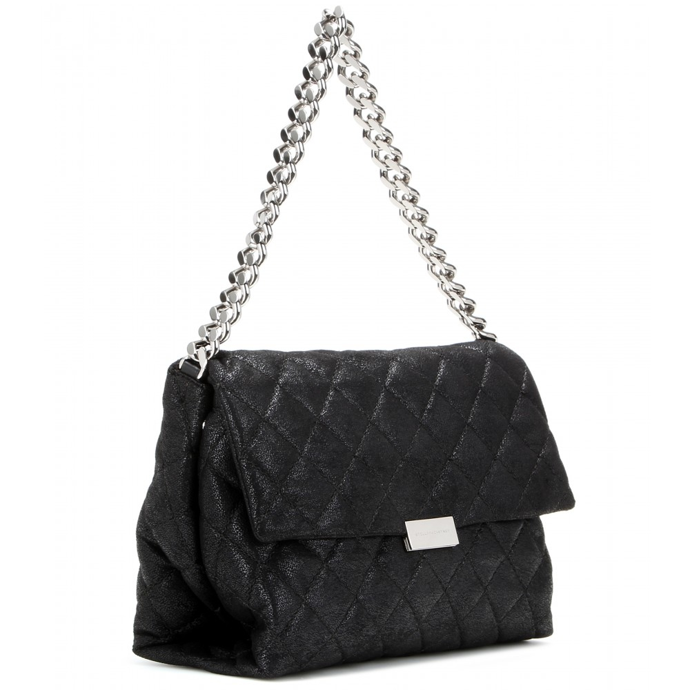Stella mccartney Soft Beckett Small Quilted Shoulder Bag in Black ...
