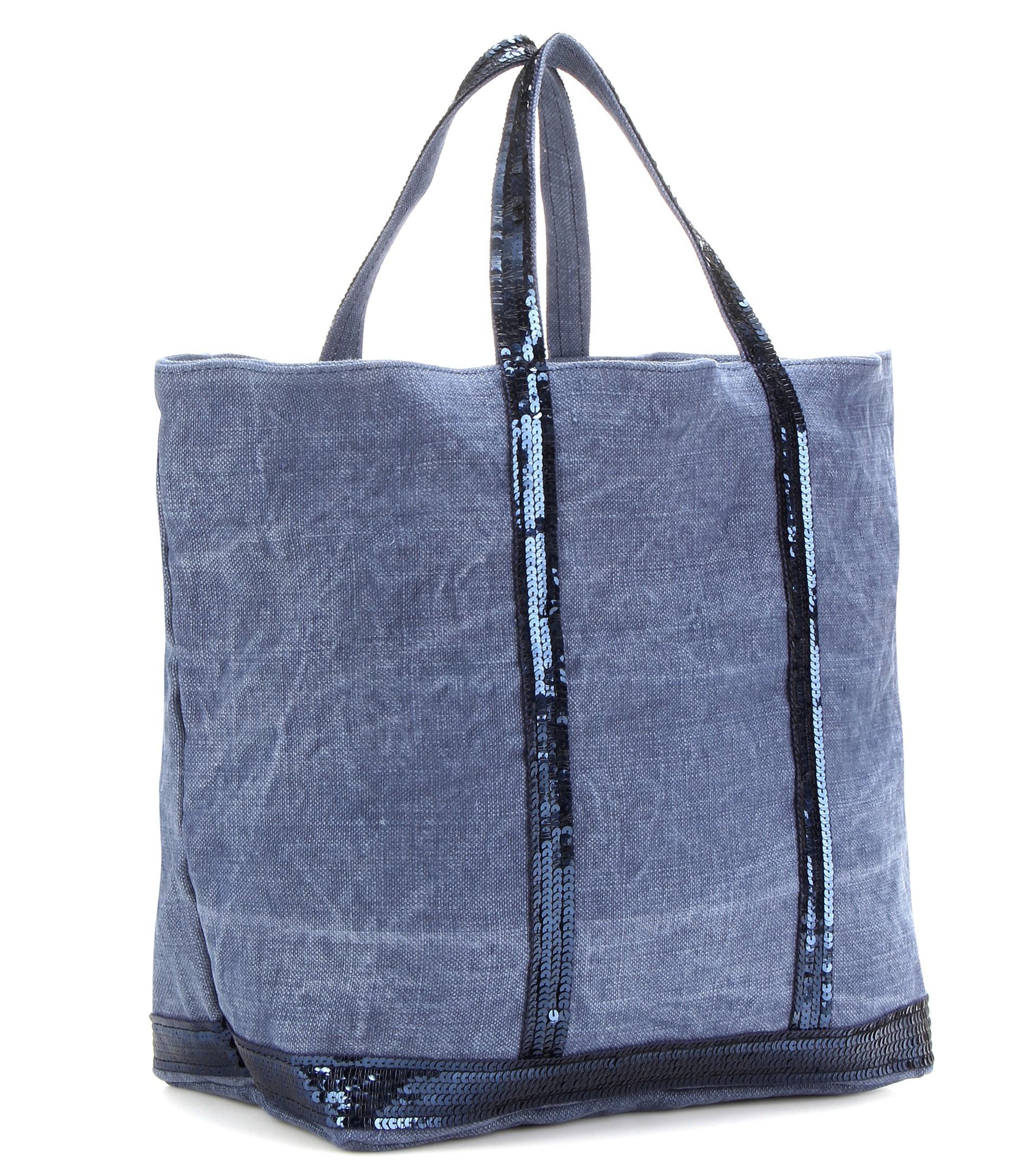 vanessa bruno cabas medium embellished canvas shopper in gray blue lyst. Black Bedroom Furniture Sets. Home Design Ideas
