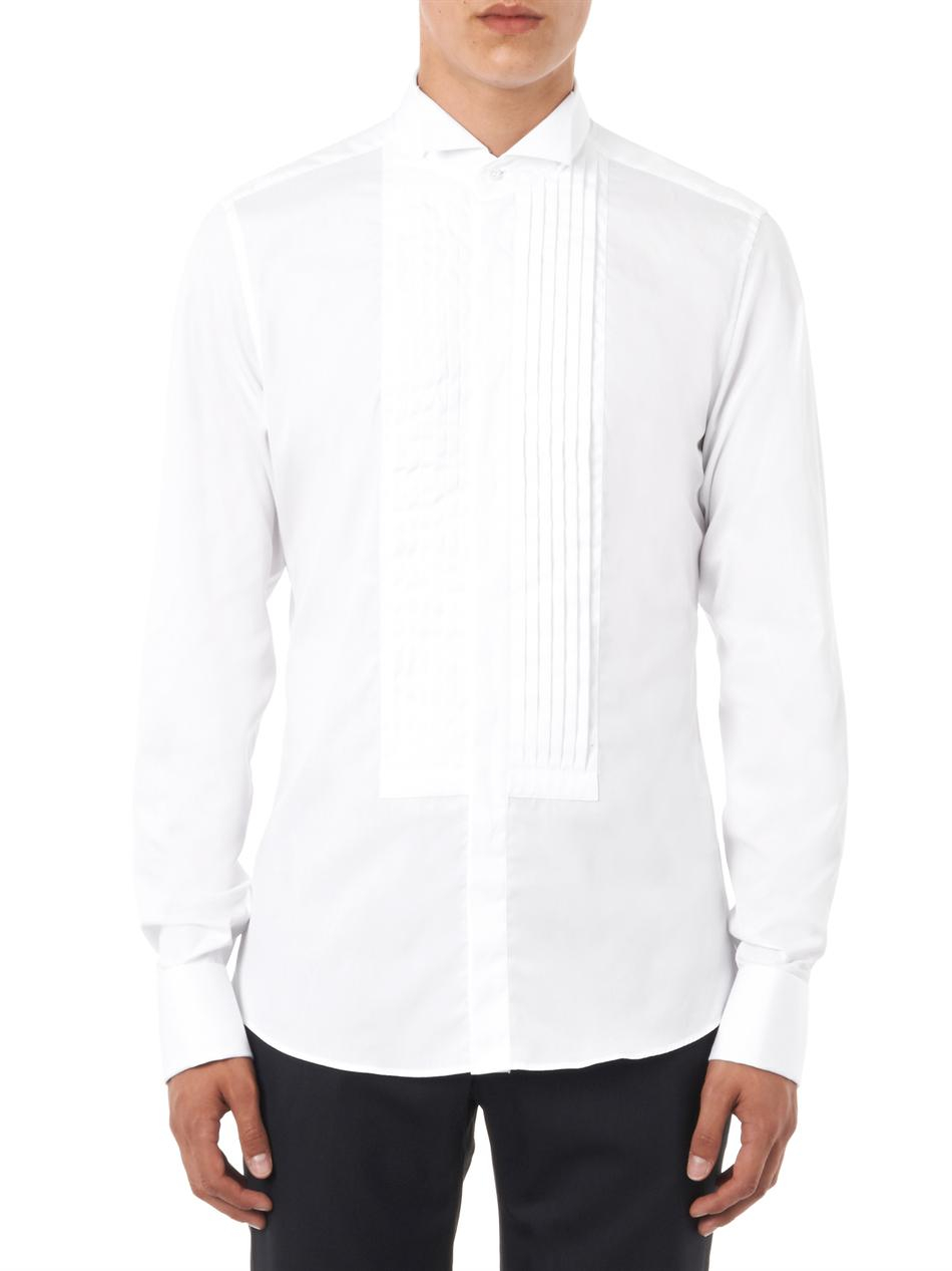 Gucci wing tip collar dinner shirt in white for men lyst for Wing tip collar shirt