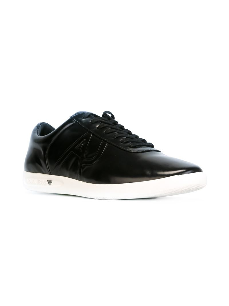 armani logo lace up sneakers in black for lyst