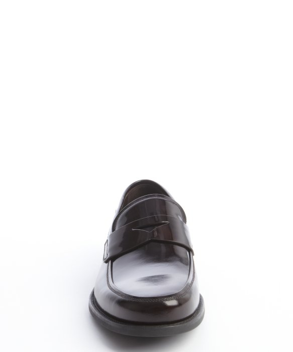 Prada Dark Brown Patent Leather Cutout Belt Detail Loafers in ...
