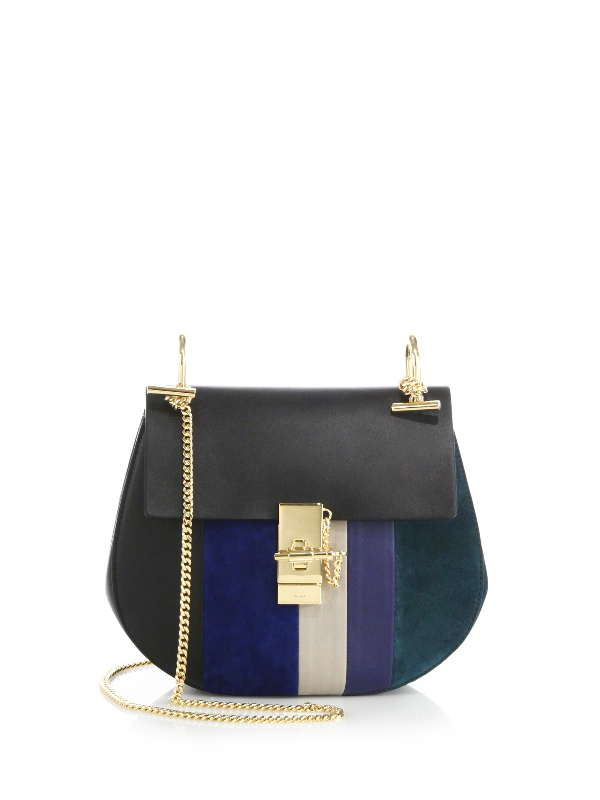 replica chloe drew small grained leather shoulder bag blue