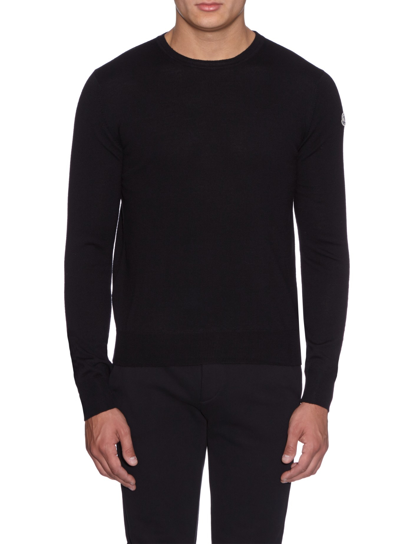 Moncler Crew-neck Virgin-wool Sweater in Black for Men