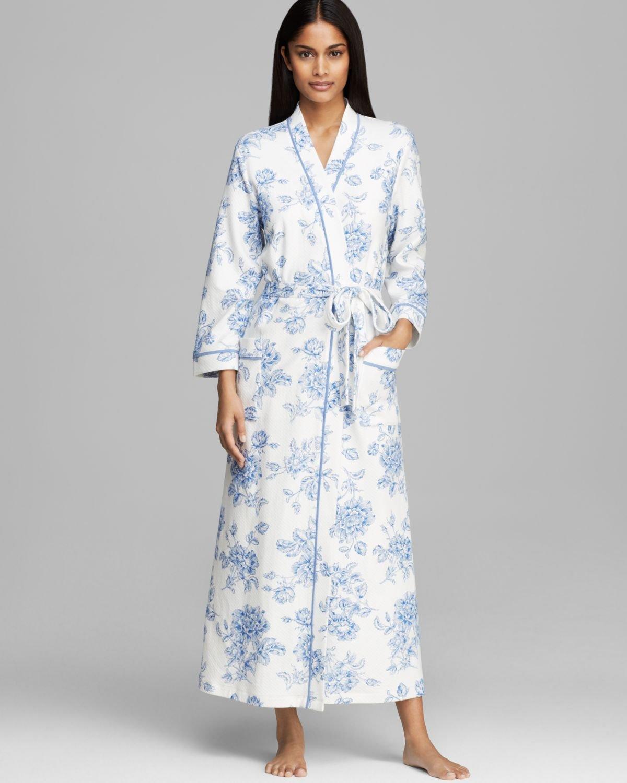 7ca2fb8919 Lyst - Carole Hochman Timeless Floral Long Robe in Blue