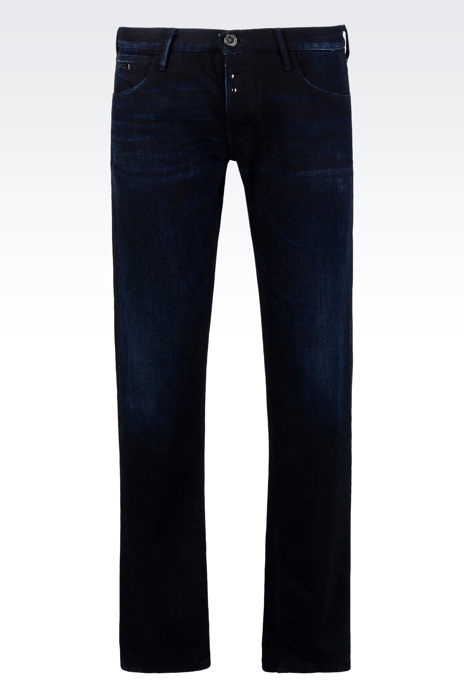 emporio armani tapered fit wash in blue for