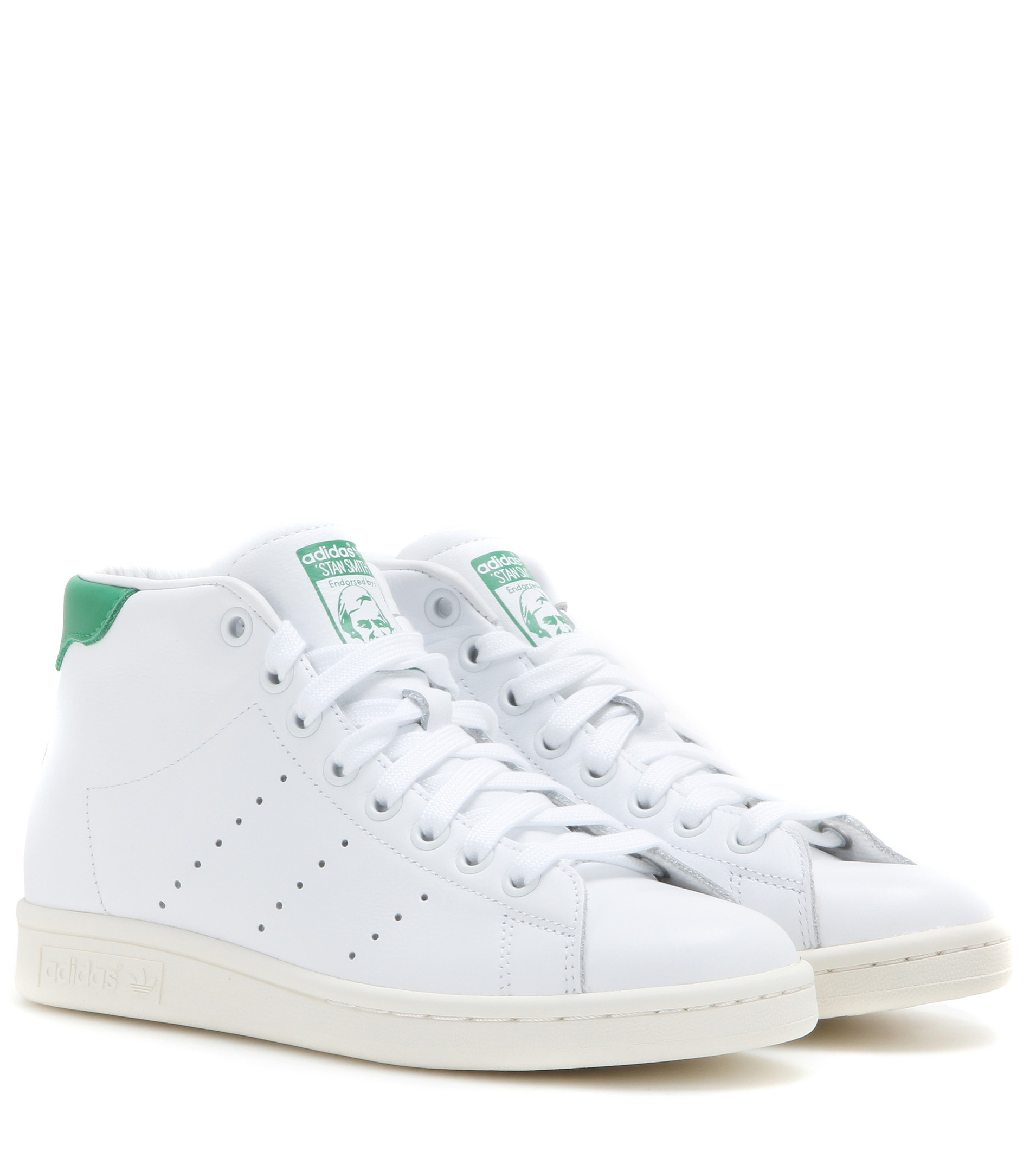 adidas stan smith mid leather high top sneakers in white lyst. Black Bedroom Furniture Sets. Home Design Ideas
