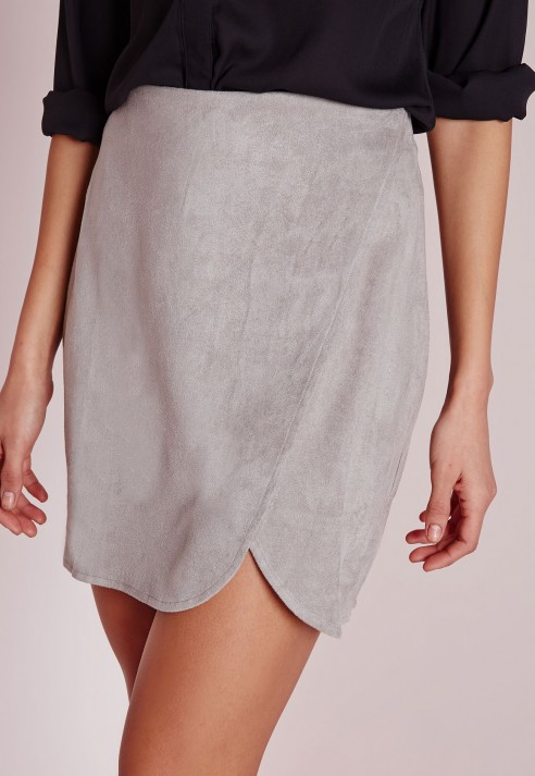 Missguided Faux Suede Wrap Mini Skirt Light Grey in Gray | Lyst
