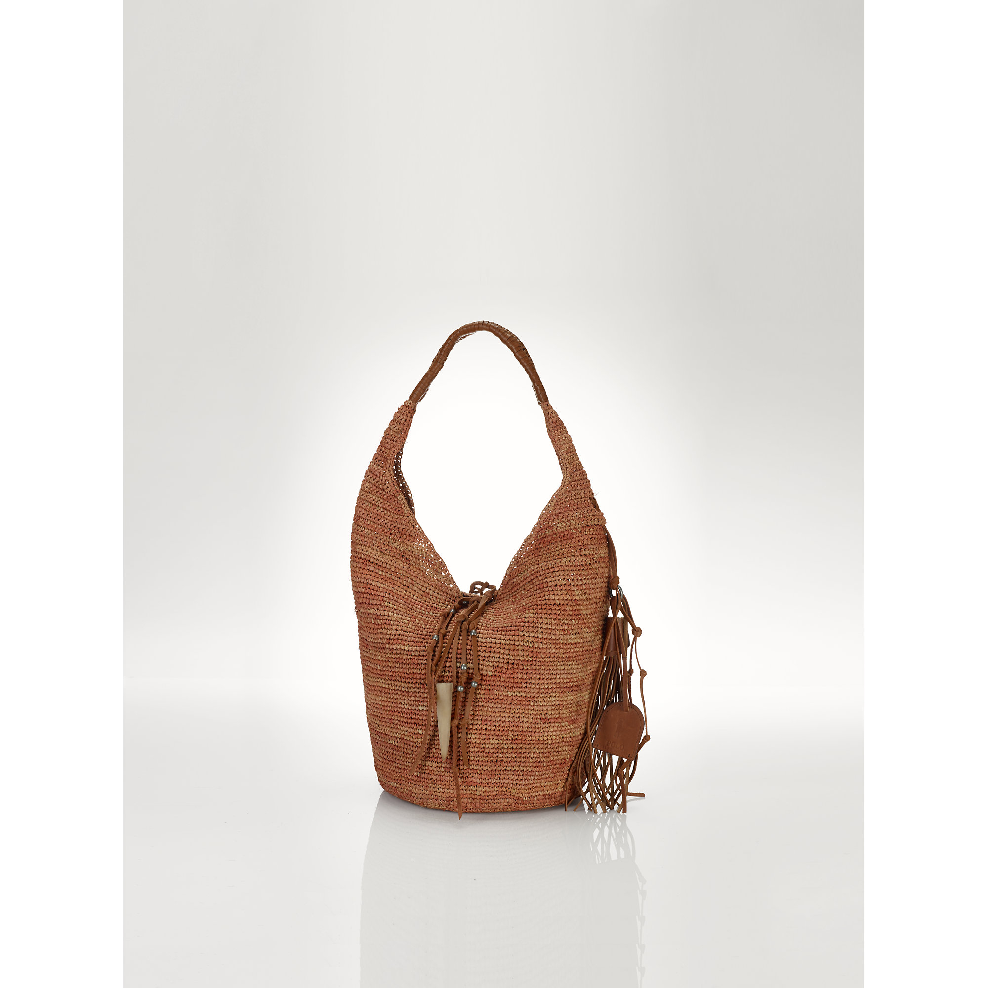 Lyst - Polo Ralph Lauren Straw Sling Bag in Brown a69e522896ebf