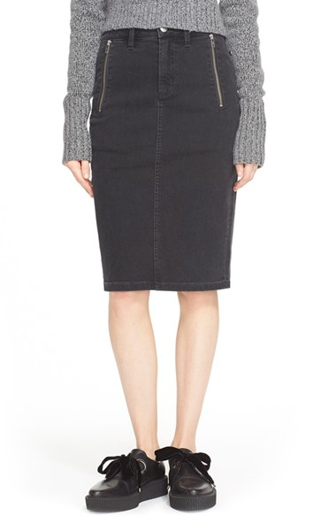 e8b8dd360 Marc By Marc Jacobs Zip Denim Pencil Skirt in Black - Lyst