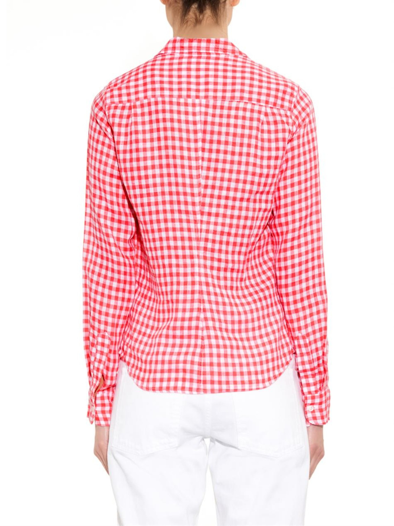Frank eileen barry gingham linen shirt in pink lyst for Red and white gingham shirt women s