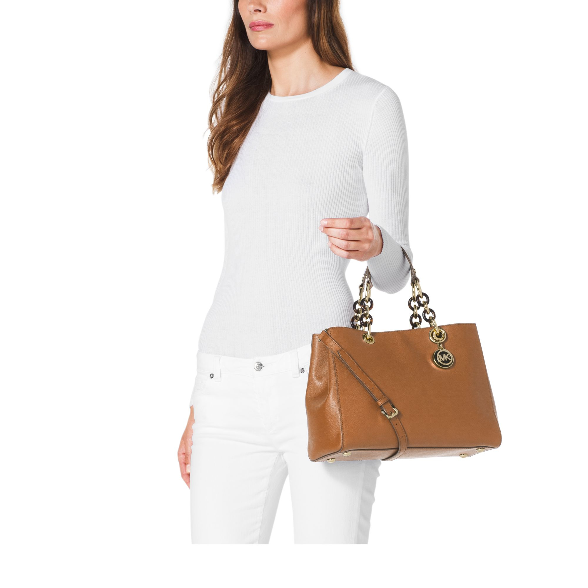 Michael Kors Cindy Laukku : Michael kors cynthia medium leather satchel in brown lyst