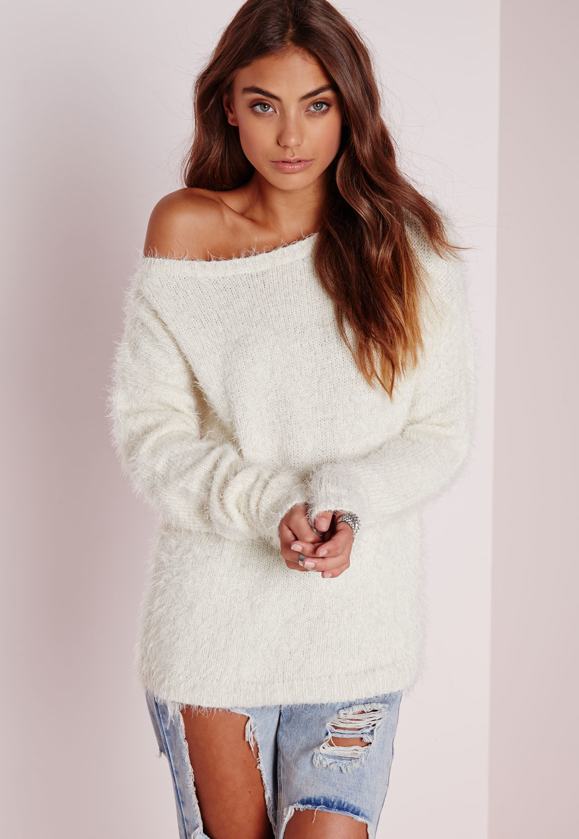 Missguided Off Shoulder Fluffy Jumper Cream | Lyst