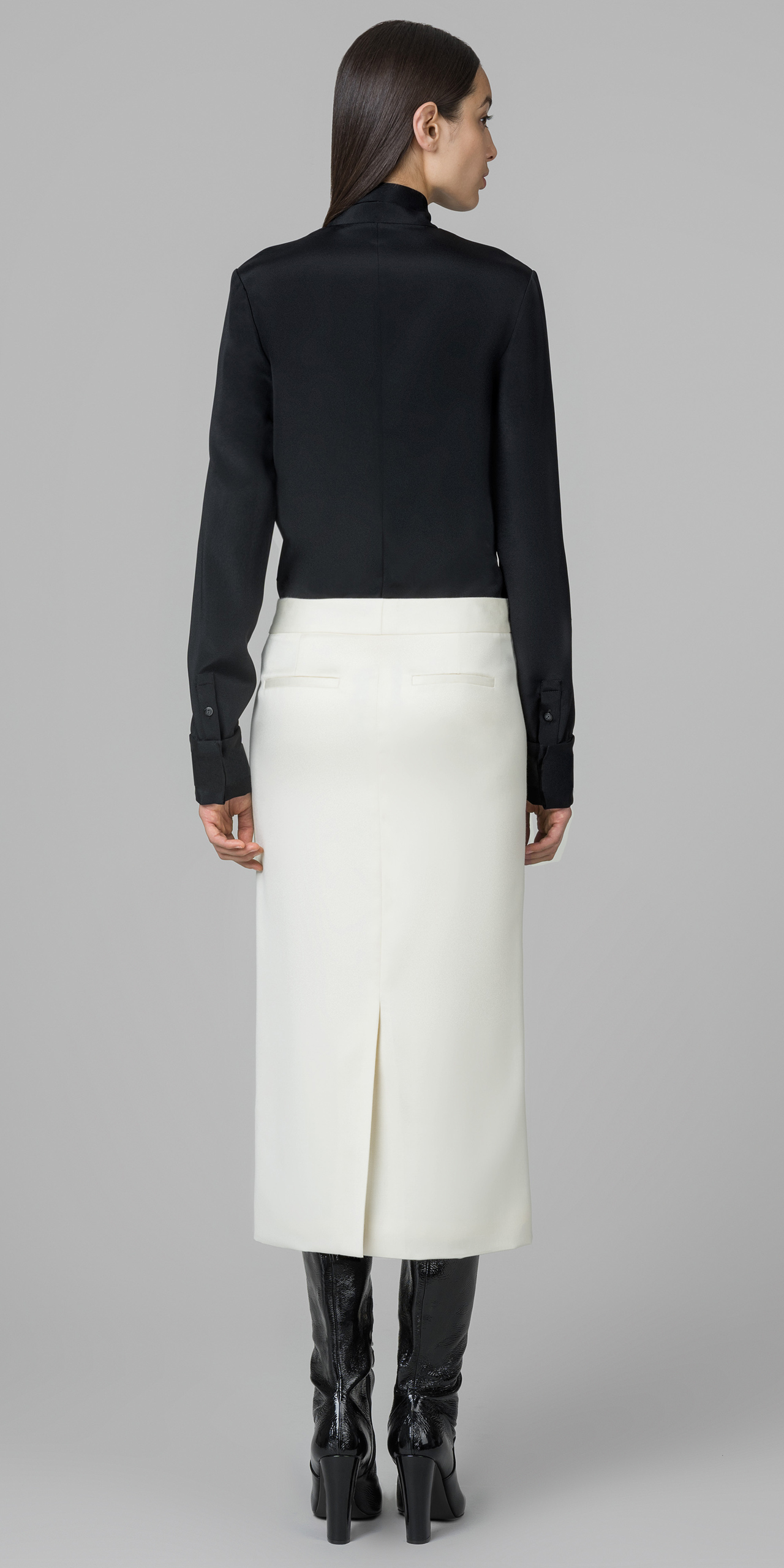 Kimora lee simmons Liquid Wool Pencil Skirt in White | Lyst
