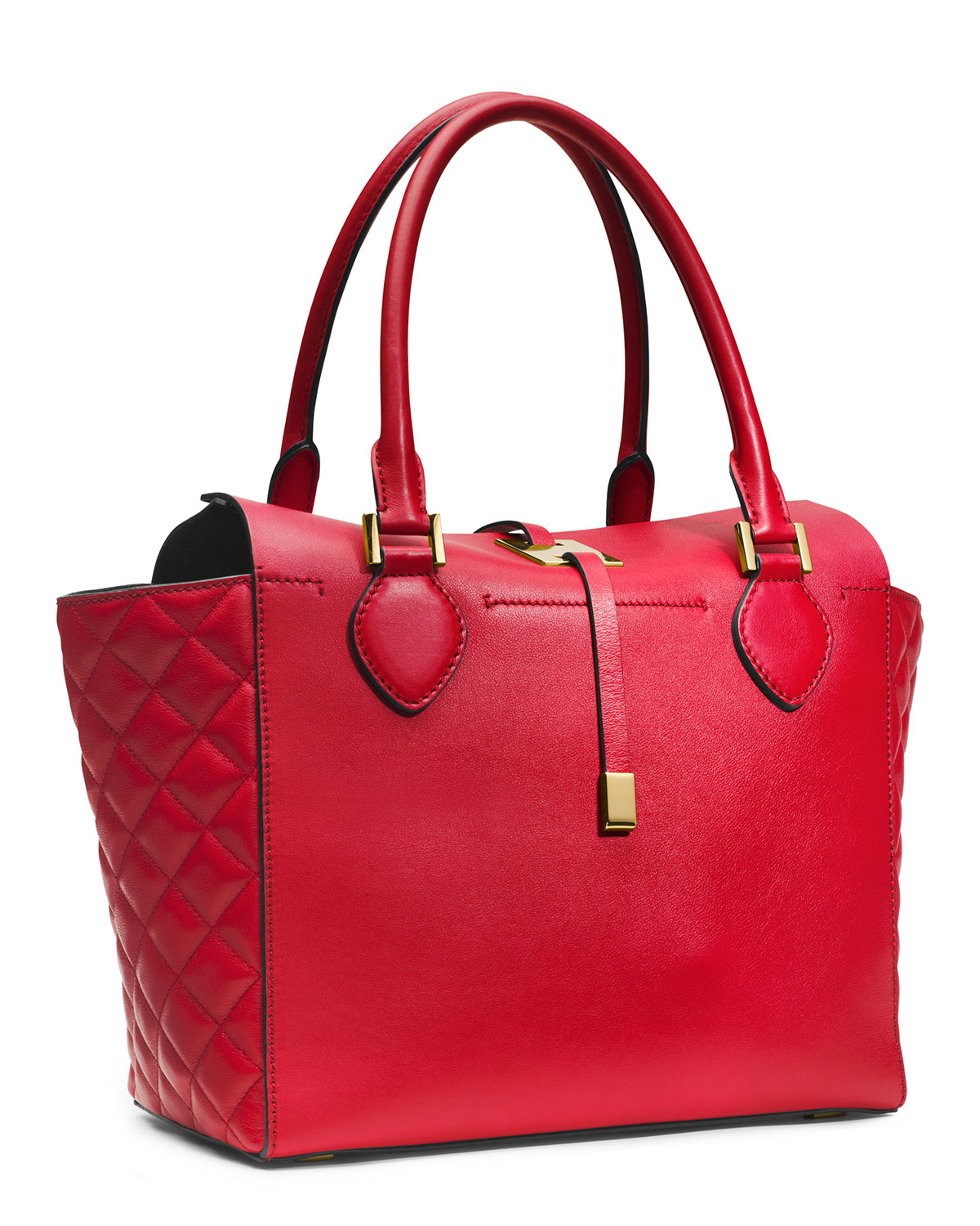 ... Michael kors Miranda Quilted Tote in Red Lyst 06b4ce31a5