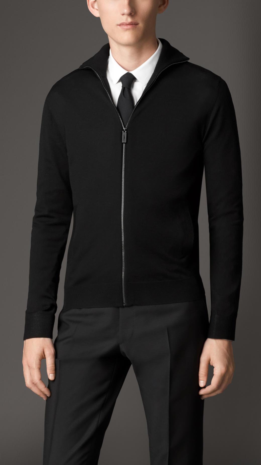 Burberry Zip Front Merino Wool Cardigan in Black for Men | Lyst