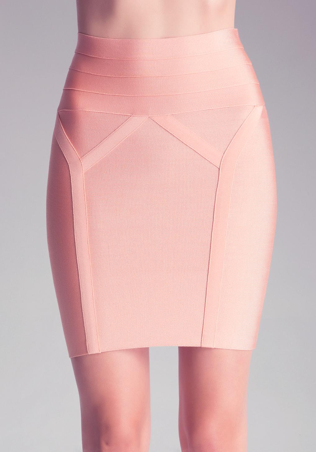 Bebe High Waist Bodycon Skirt in Pink | Lyst