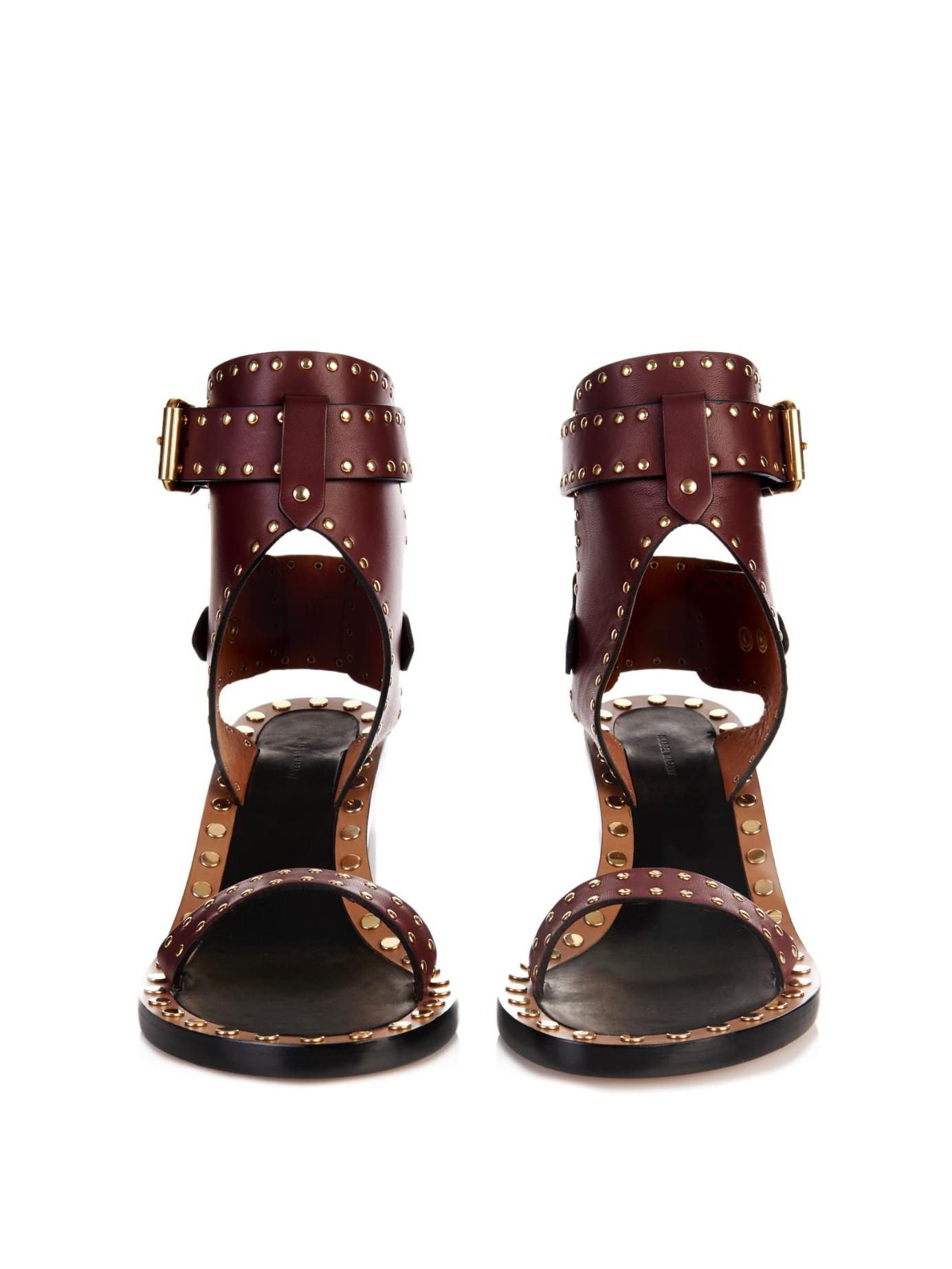 4ffd2b36a1 Isabel Marant Jaeryn Studded Leather Sandals in Red - Lyst