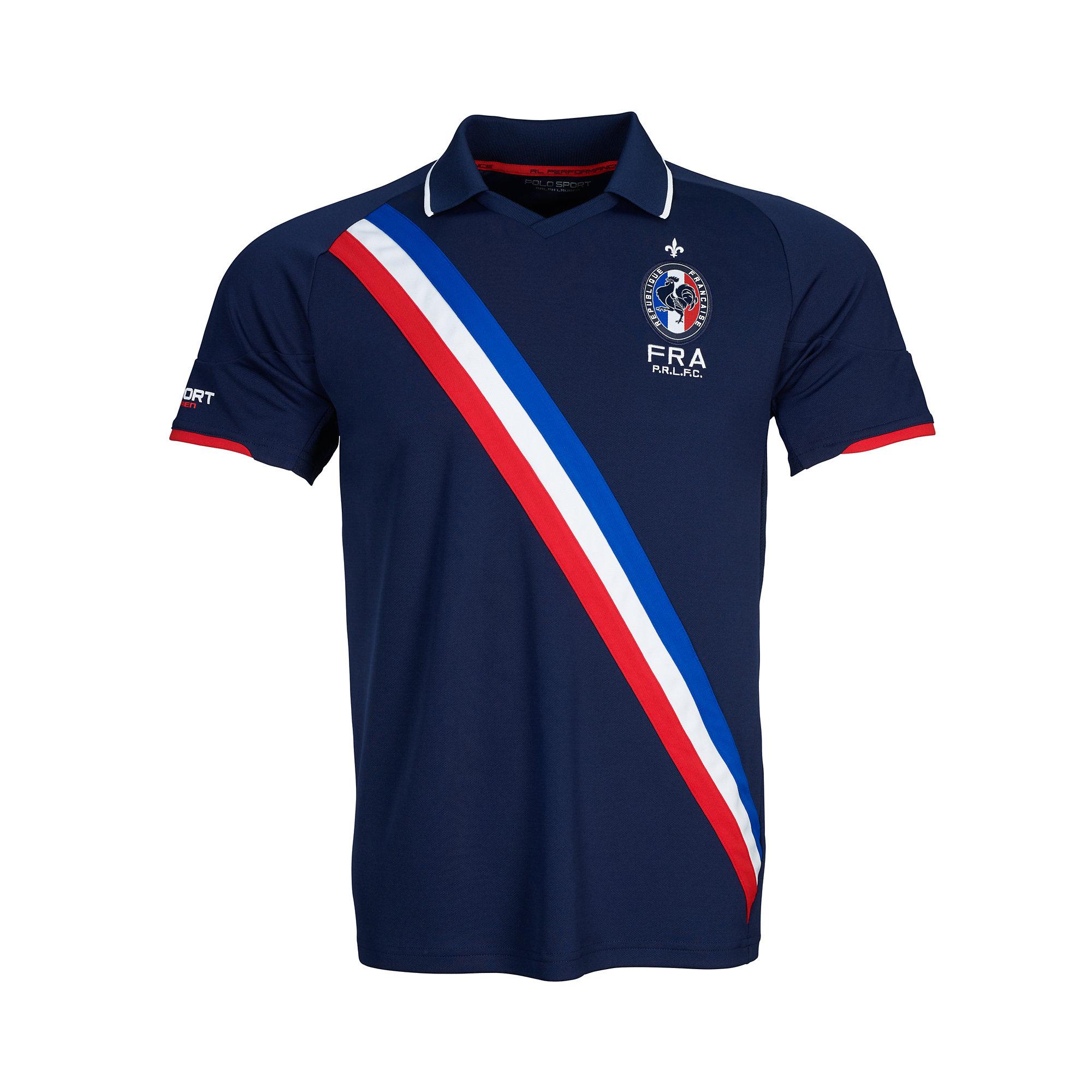 Ralph lauren france jersey polo shirt in blue for men lyst for Ralph lauren polo jersey shirt