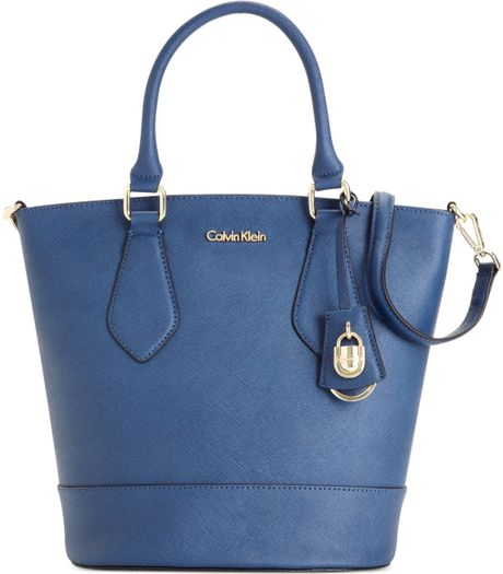 Calvin Klein Modena Saffiano Bucket Bag in Blue (Ink)