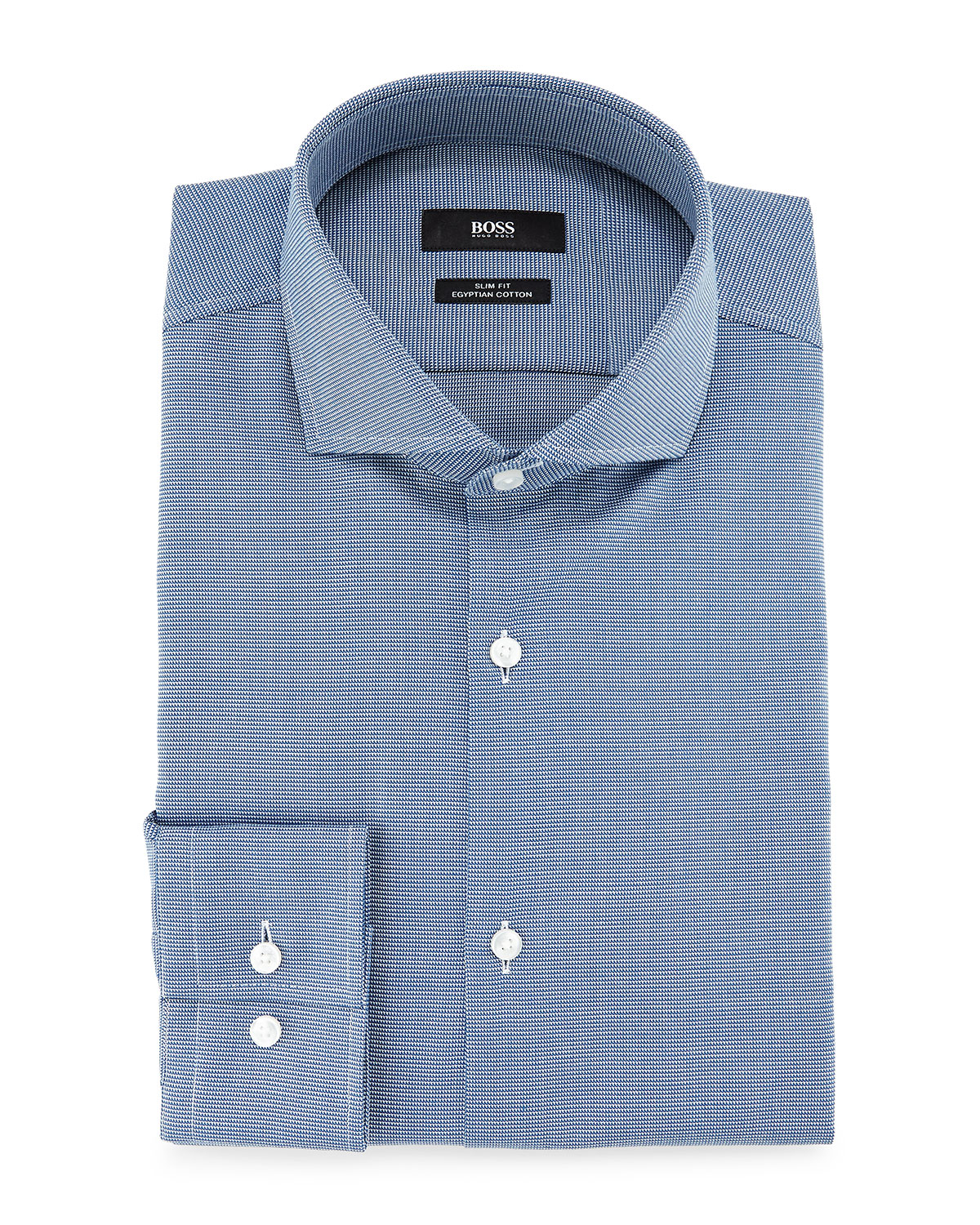 lyst boss jason slim fit textured pindot dress shirt in blue for men. Black Bedroom Furniture Sets. Home Design Ideas