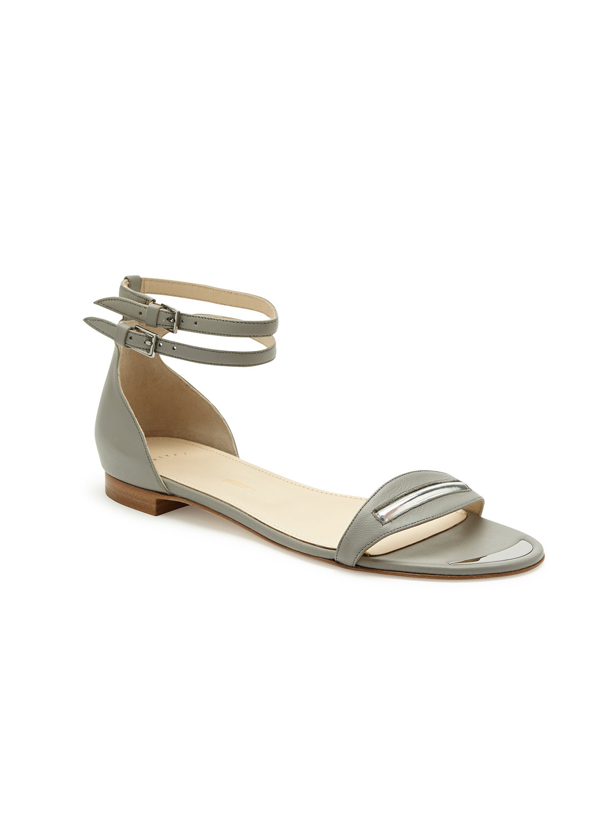 Maiyet Two Tone Double Ankle Strap Flat Sandal In Gray Lyst