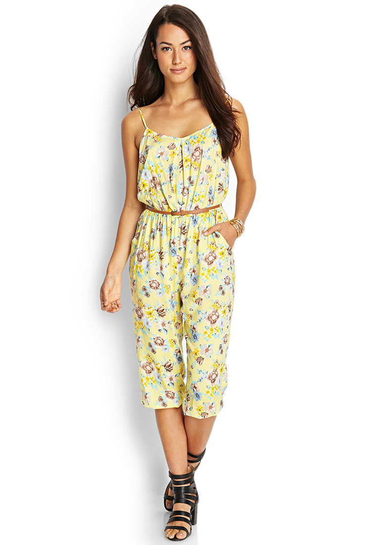 Forever 21 Contemporary Belted Floral Jumpsuit in Yellow | Lyst