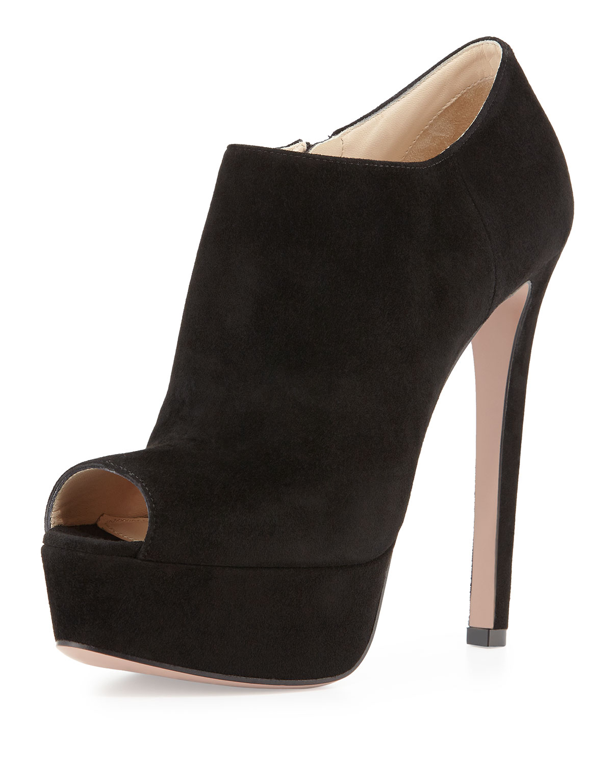 Prada Peep-Toe Suede Booties under $60 cheap price from china free shipping low price amazon sale online BYmsv9A