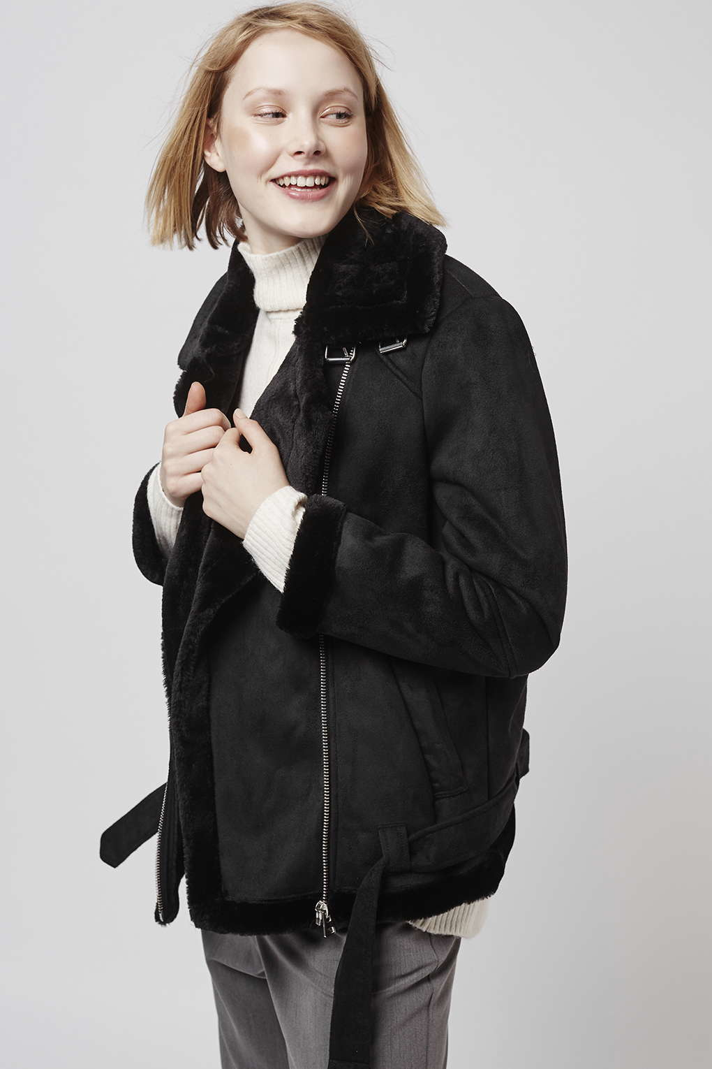 Topshop Faux Fur Aviator Biker Jacket in Black | Lyst