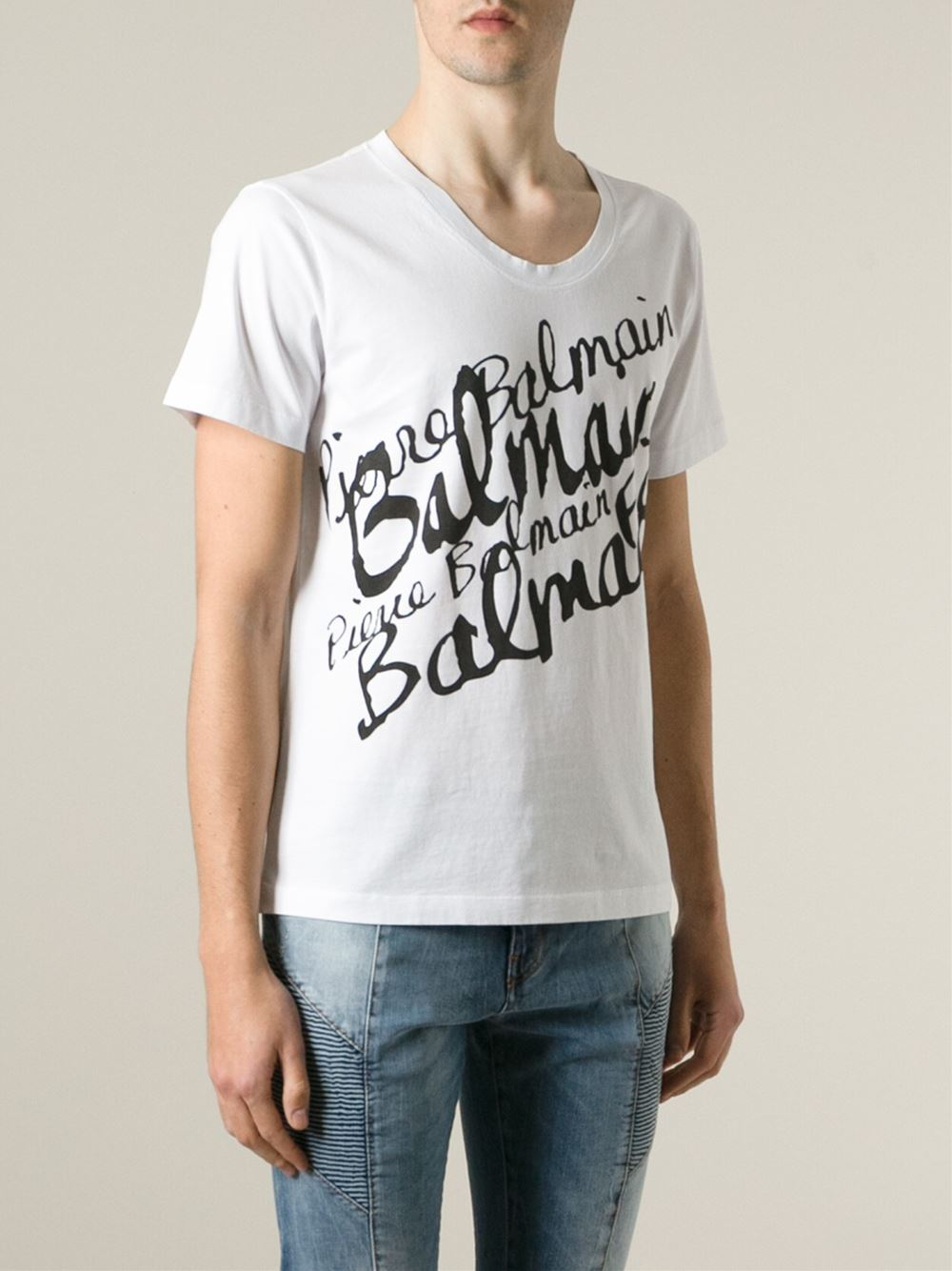 Lyst balmain writing print t shirt in white for men for White t shirt printing