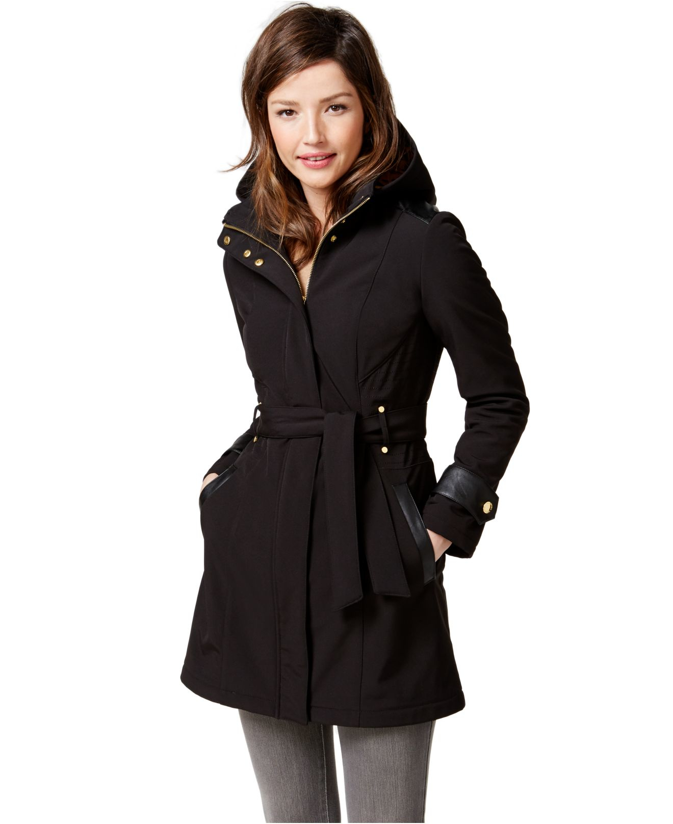 Lyst Via Spiga Faux Leather Trim Hooded Softshell Coat