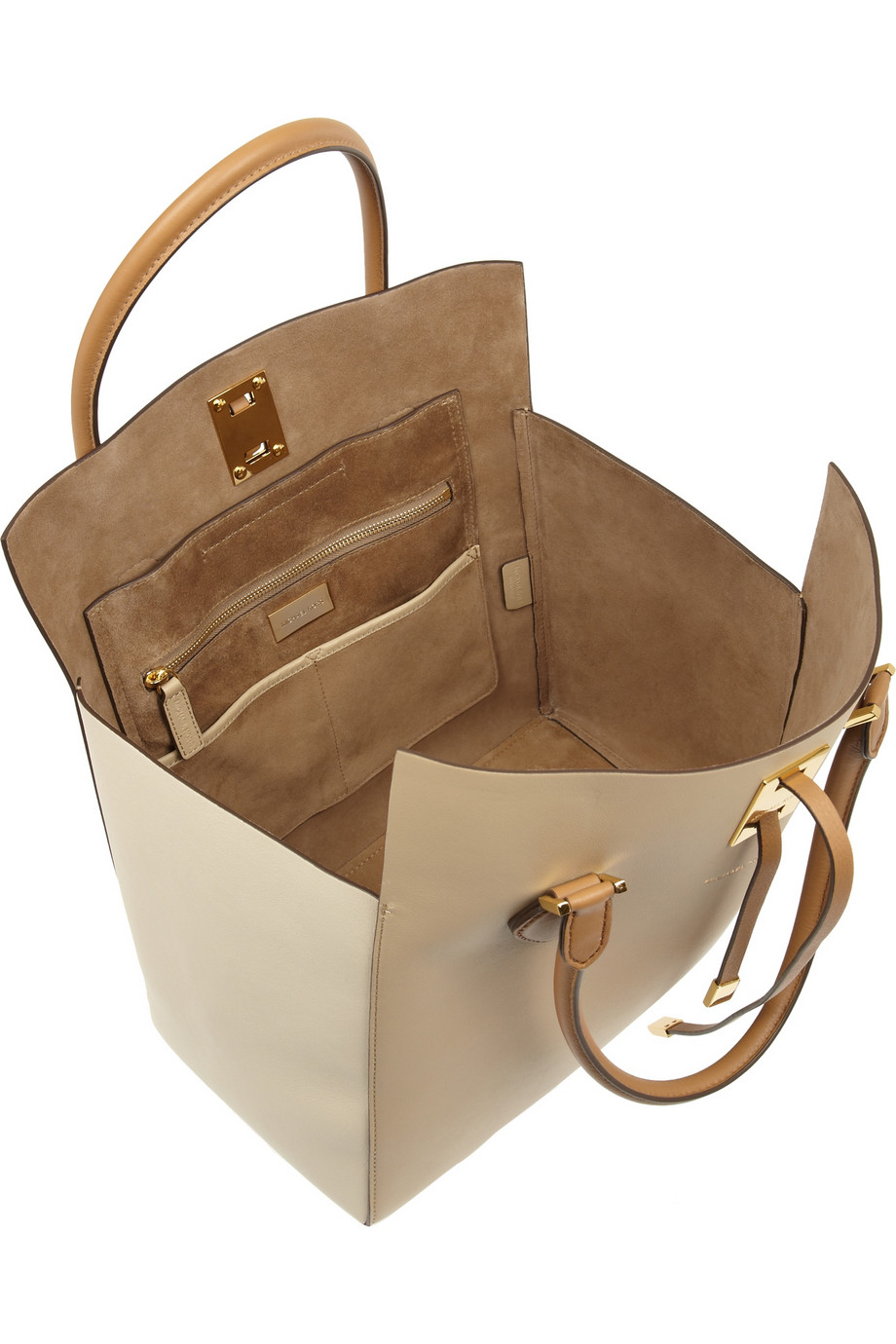 c15b3765f4ee Michael Kors Miranda Large Colorblock Leather Tote in Natural - Lyst