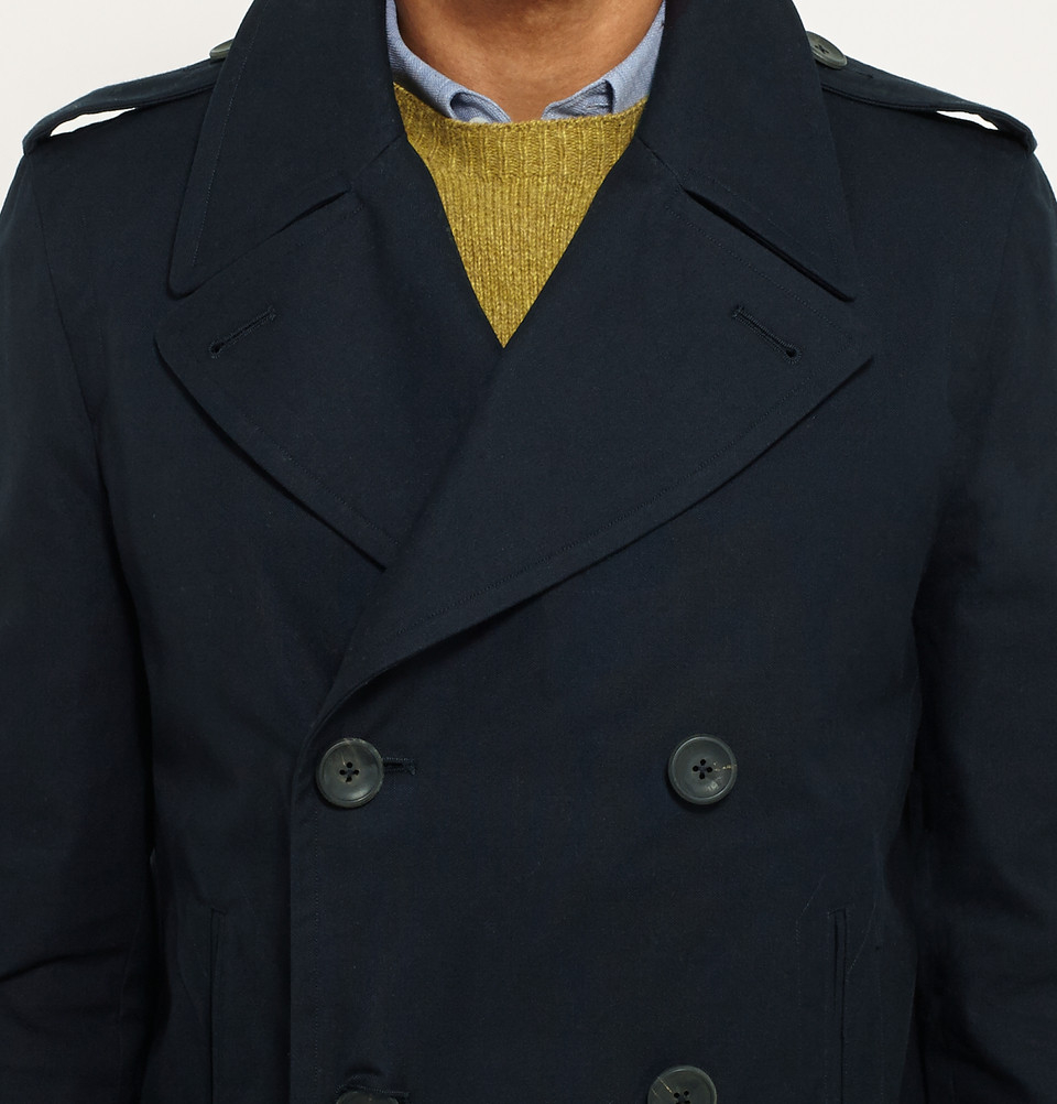 fd7f88b08 Lyst - Dunhill Double-Breasted Cotton Peacoat in Blue for Men