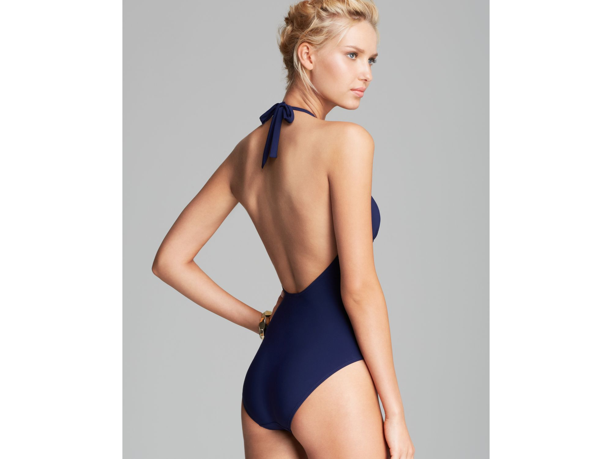 51cac25960 Tory Burch Solid Logo One Piece Swimsuit in Blue - Lyst
