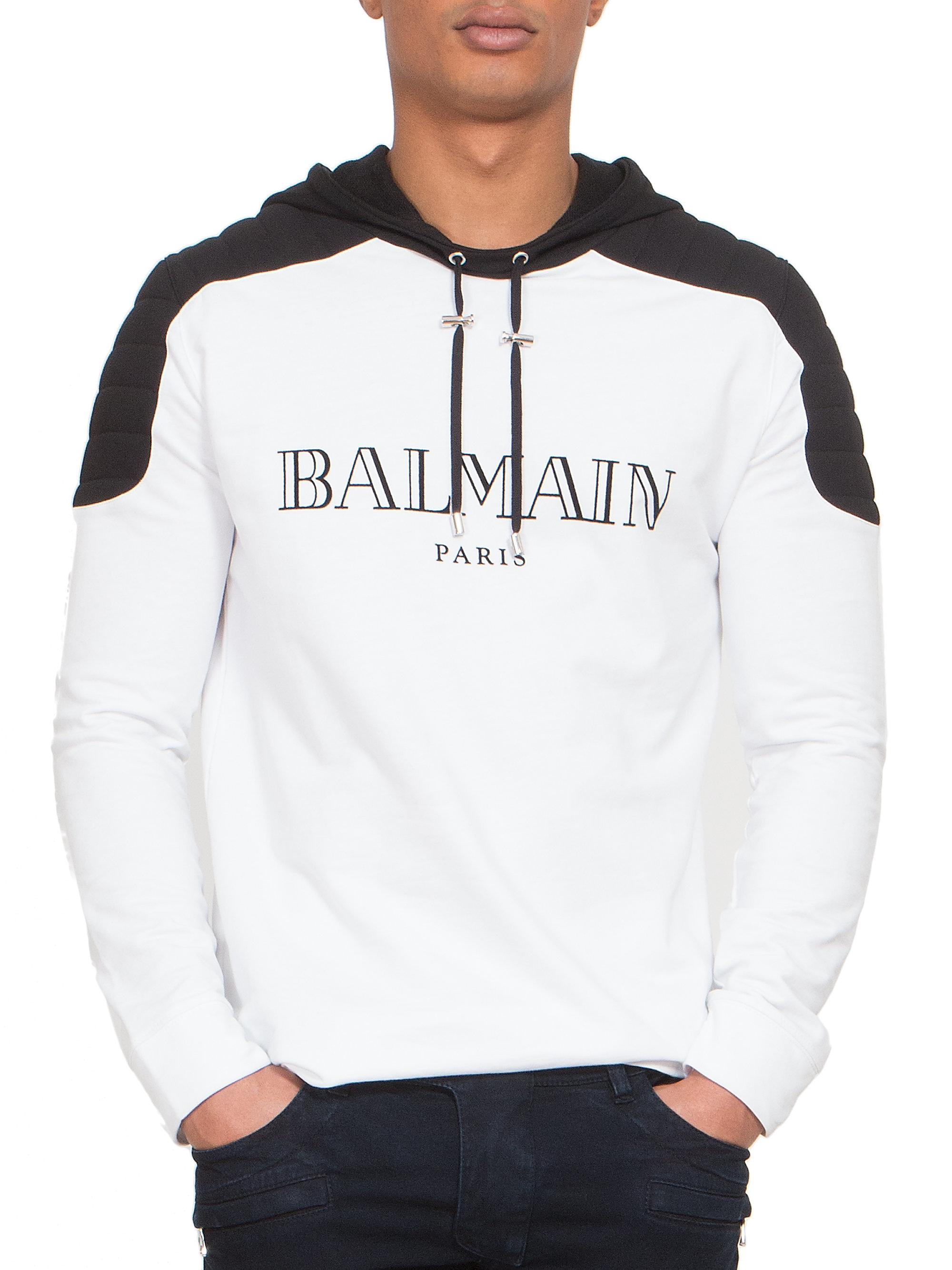 Lyst Balmain Quilted Shoulder Logo Hoodie In White For Men