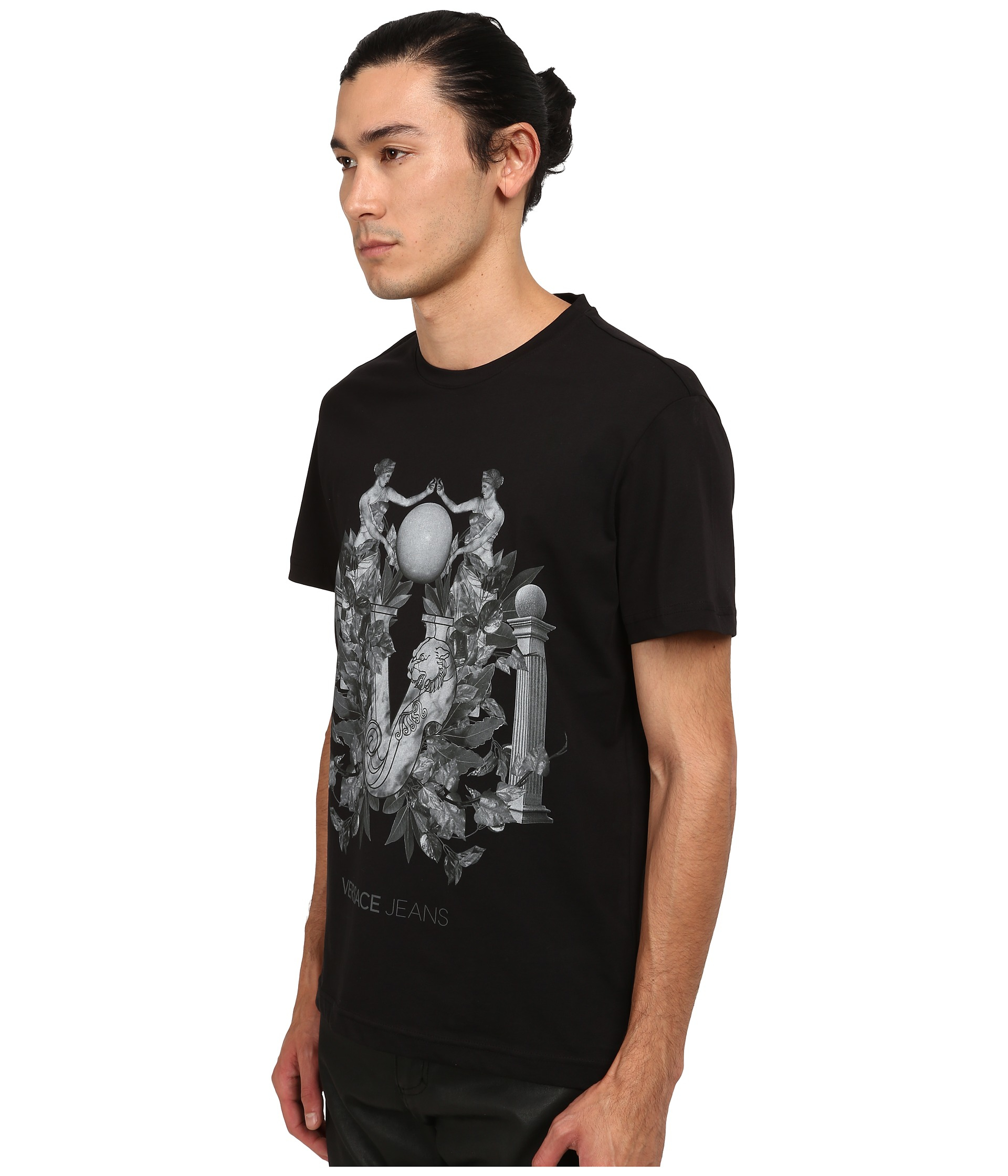 versace greco columns t shirt in black for lyst