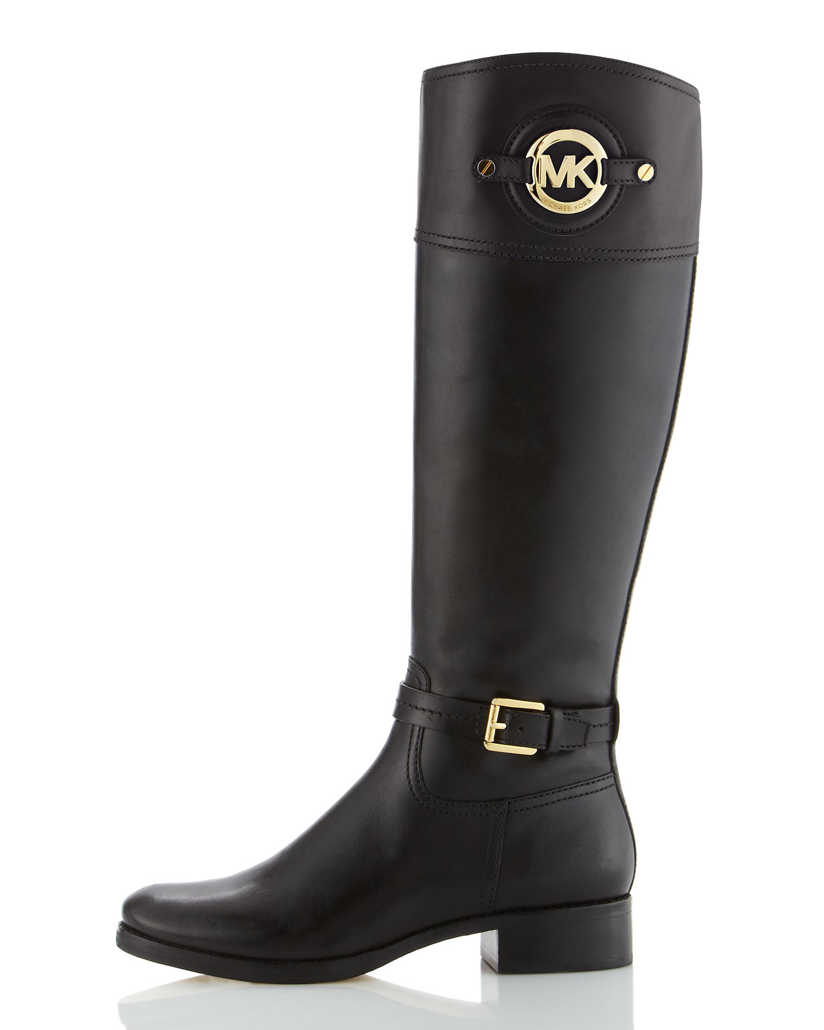 michael michael kors stockard leather boot in black