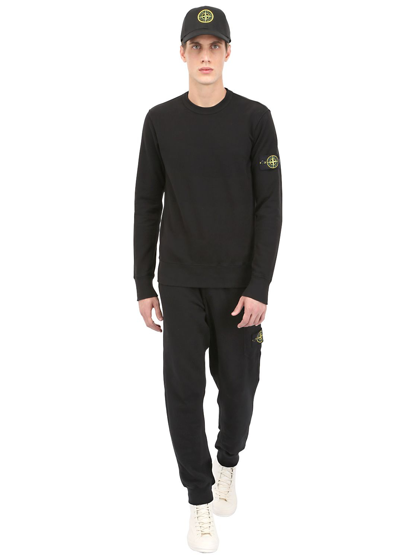 Stone Island Cotton Sweatshirt In Black For Men Lyst