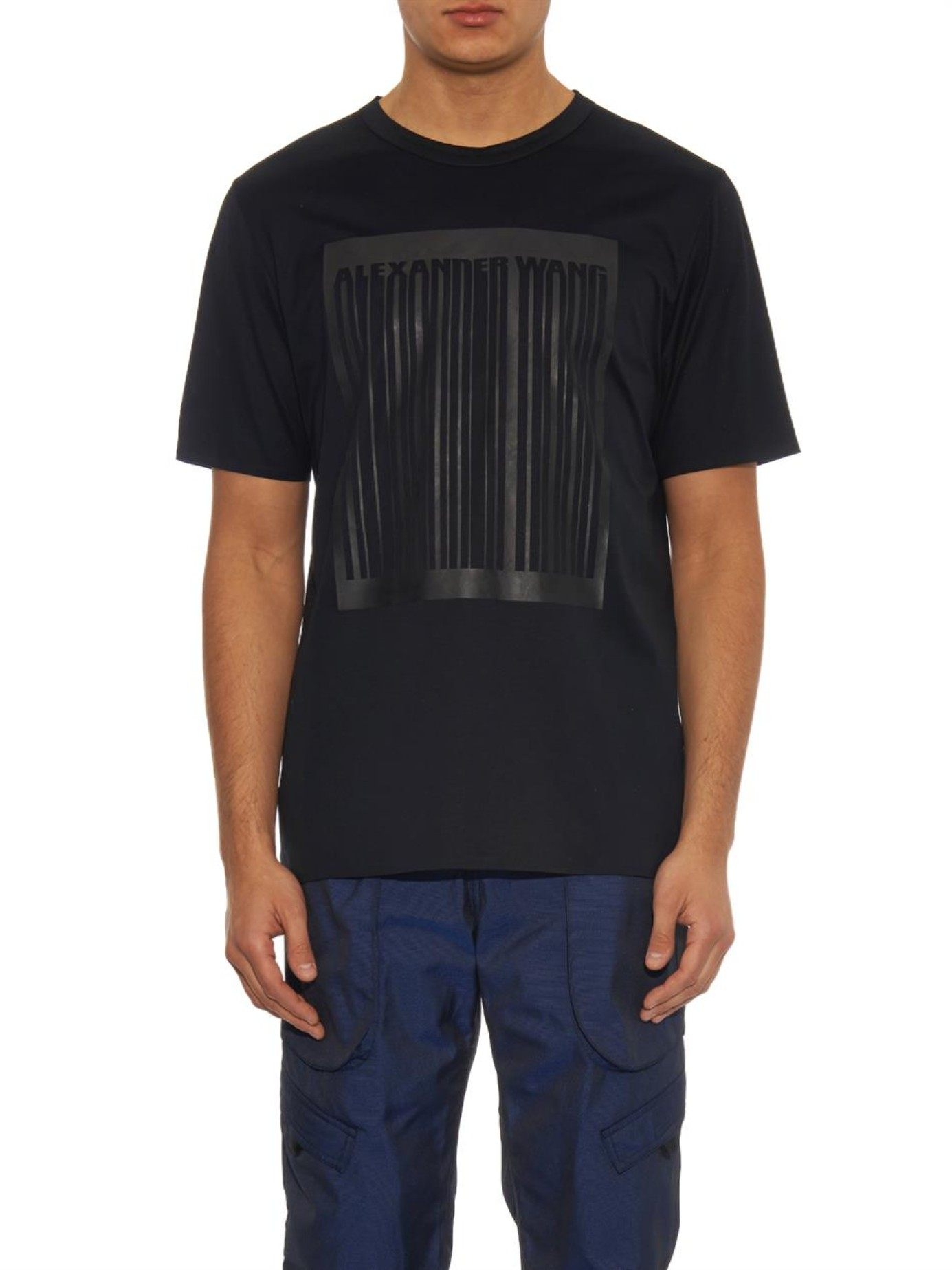 Alexander Wang Logo Barcode Print Cotton T Shirt In Black