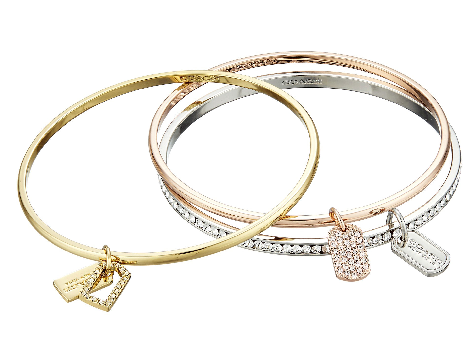 crystal metallic brands gold blue and bangle stone bangles hinged lyst silver women in pave rose round jewelry s givenchy tone bracelet