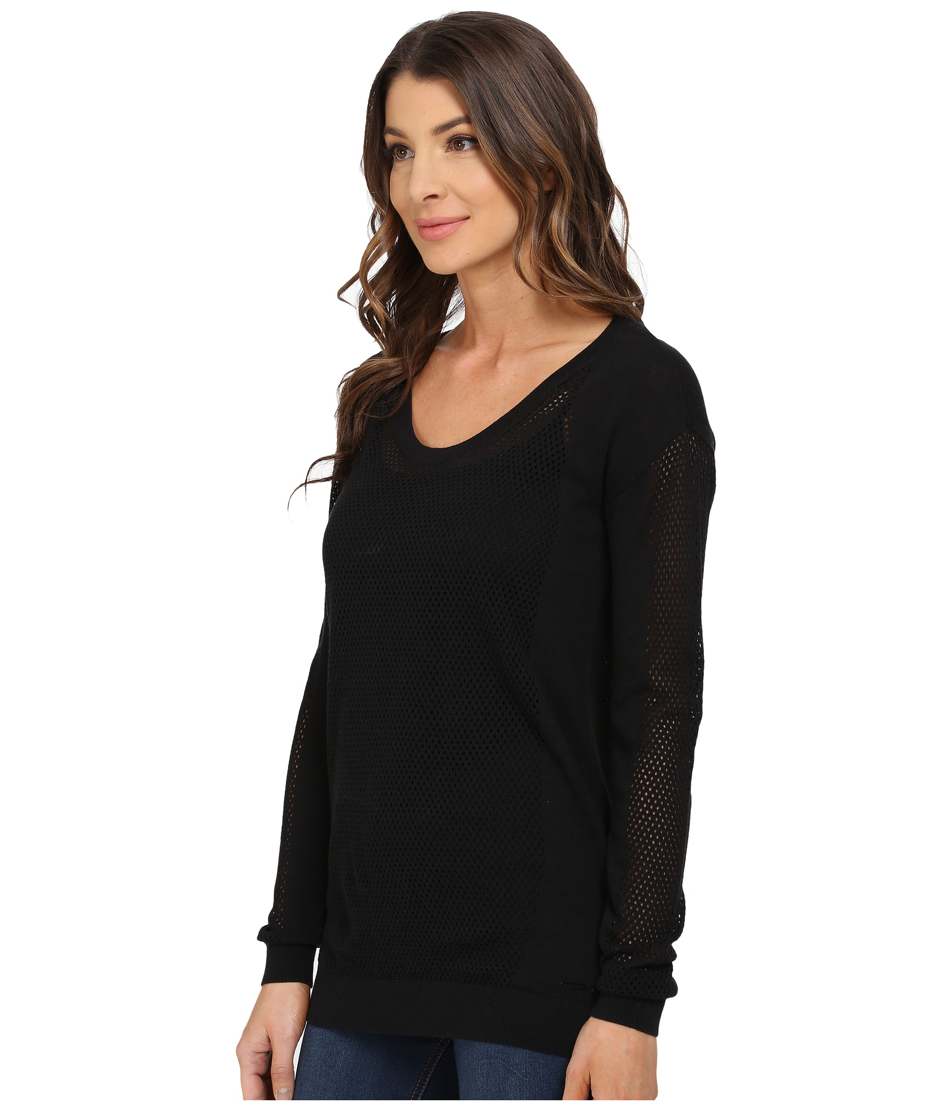 Calvin klein jeans Modern Mesh Crew Neck Sweater in Black | Lyst
