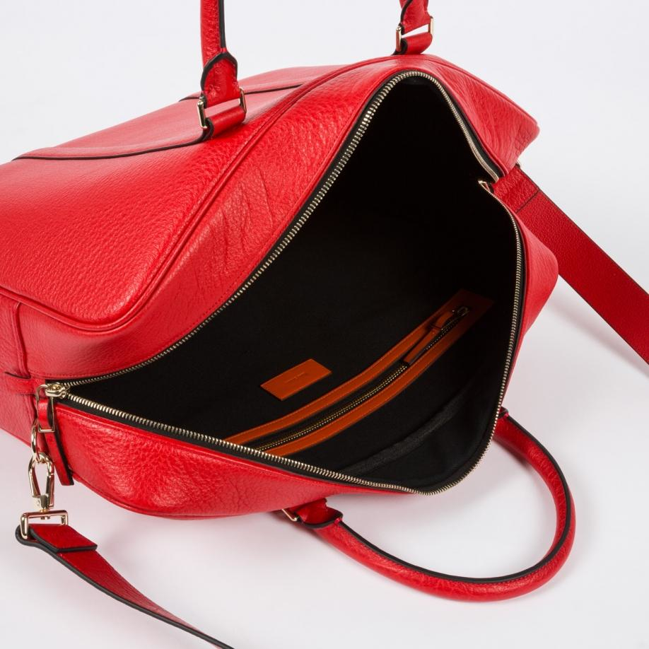Paul smith Men's Red Grained Leather Weekend Bag in Red | Lyst