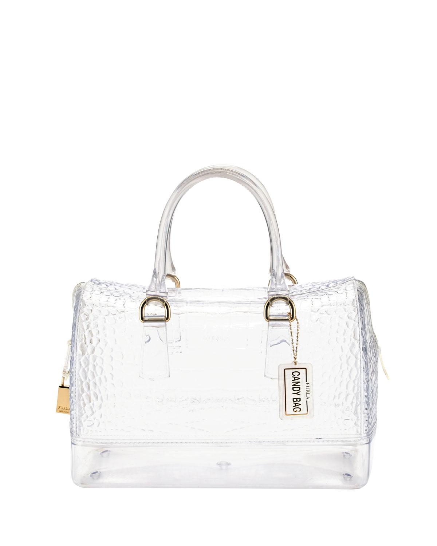 Furla Crocprint Medium Rubber Satchel Bag Cristallo in White | Lyst