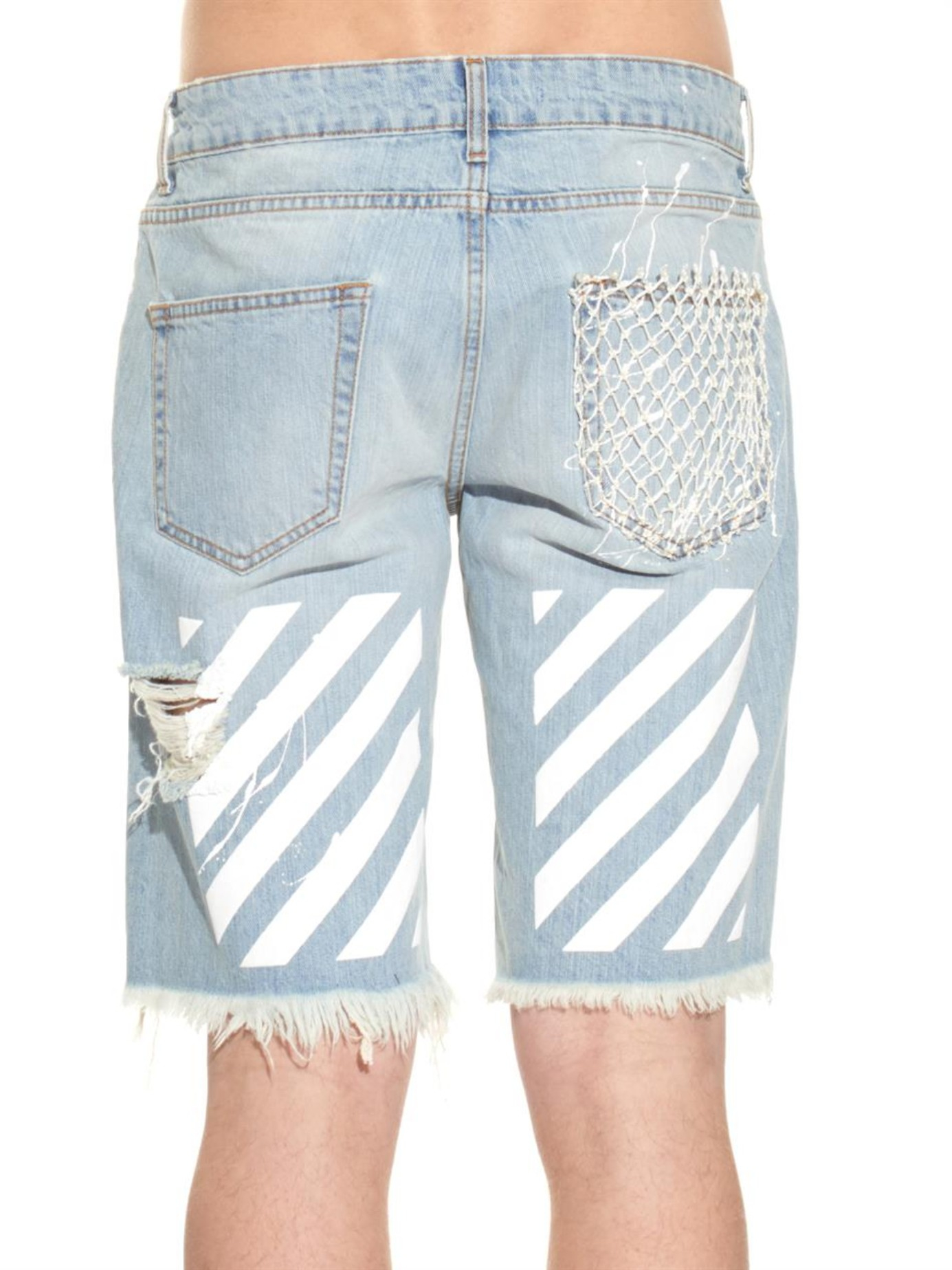 Off-white c/o virgil abloh New White Paint-Splatter Print Denim ...