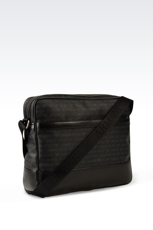 22af448a74f1 Armani jeans Grained Leather Messenger Bag Black in Black for Men