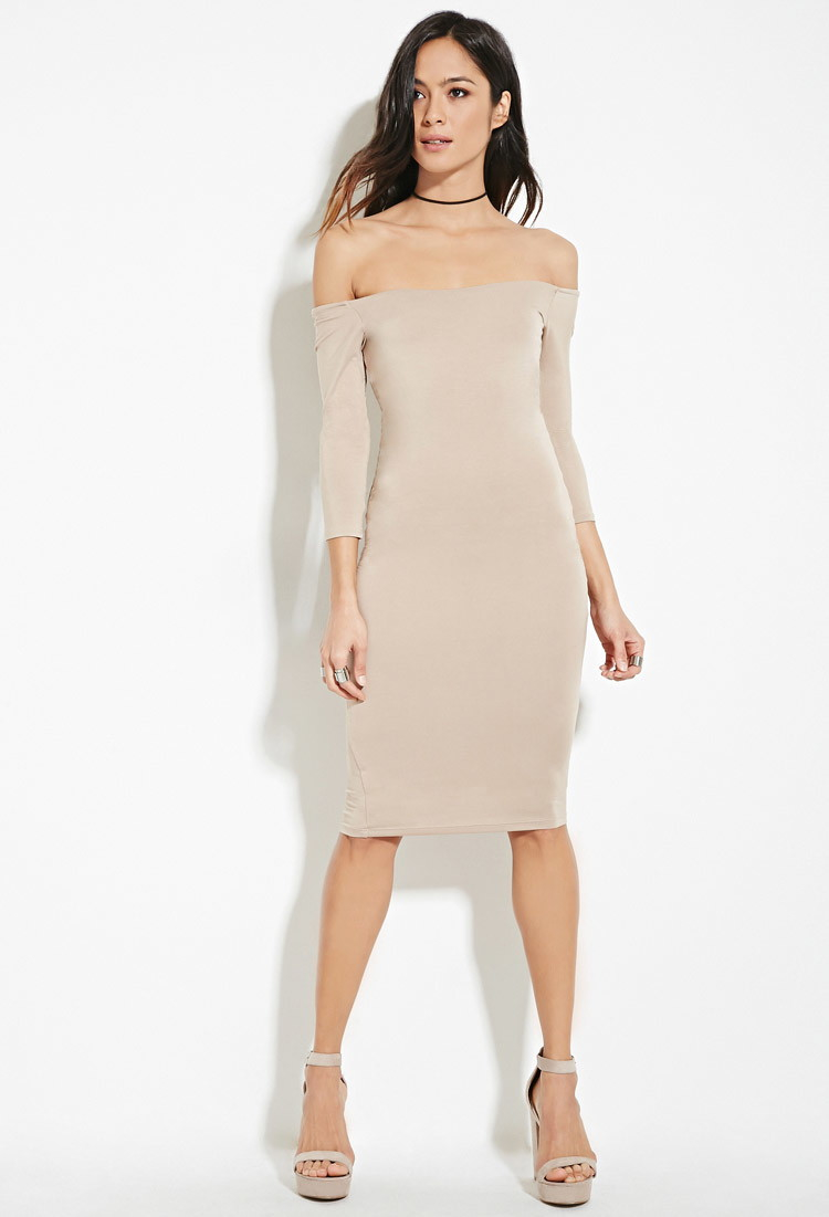 29ff819a0eff Forever 21 Off-the-shoulder Bodycon Dress in Brown - Lyst