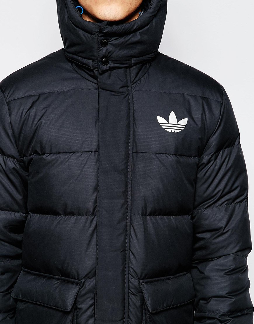 Adidas Originals Padded Long Jacket With Hood Ab7879 In