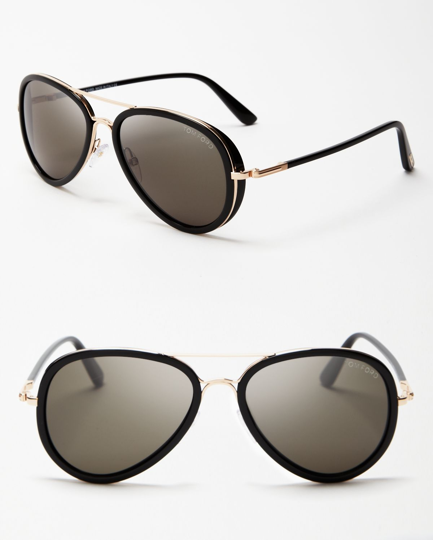 black and gold aviators  Tom ford Miles Aviator Sunglasses in Black