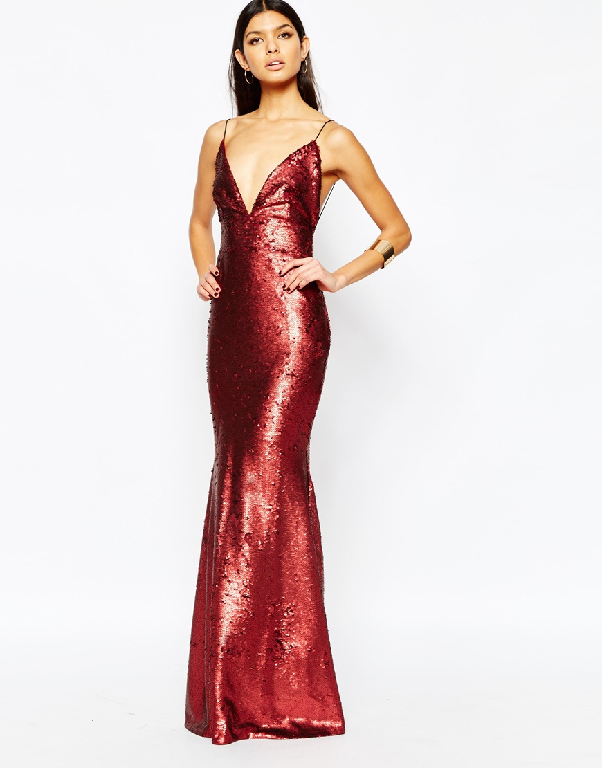 6fa46ff3c70 Club L Showstopper Open Back Sequin Maxi Dress With Fishtail in Red ...