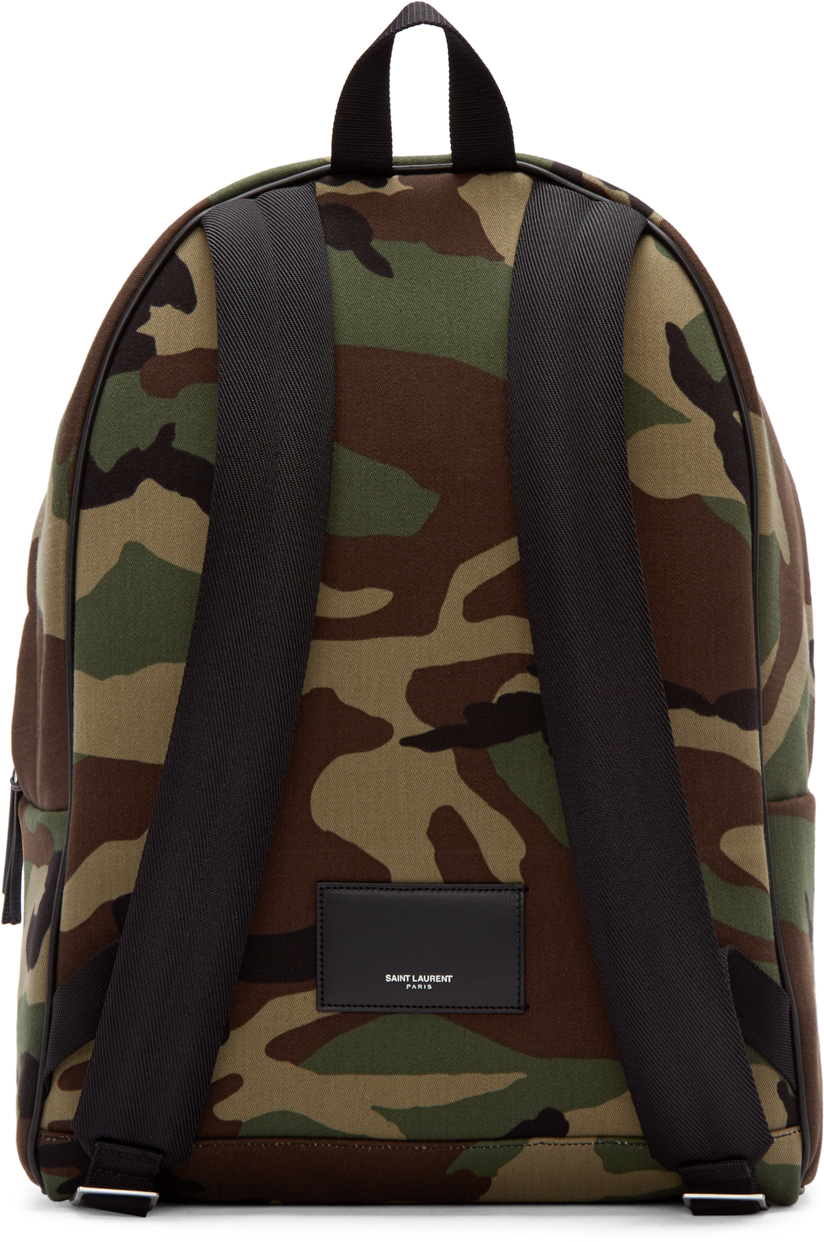 Lyst - Saint Laurent Green   Brown Canvas Camouflage Backpack in Green for  Men a7ad89a006