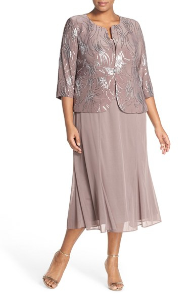 Alex Evenings Sequin Mock Two Piece Dress With Jacket In